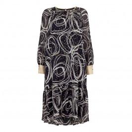 MARINA RINALDI NAVY AND GOLD SILK BLEND DRESS - Plus Size Collection