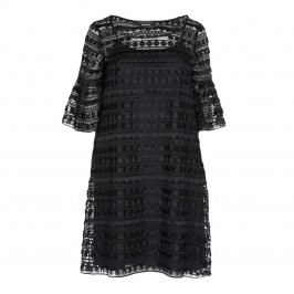 MARINA RINALDI BLACK LACE DRESS SCOOP NECK - Plus Size Collection