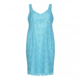 MARINA RINALDI turquoise lace DRESS with optional sleeves