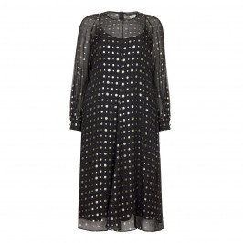 MARINA RINALDI BLACK SILK BLEND DRESS WITH GOLD DOTS - Plus Size Collection