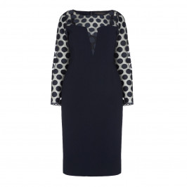 MARINA RINALDI POLKA DOT EMBROIDERED TULLE AND TRIACETATE NAVY DRESS - Plus Size Collection
