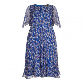 MARINA RINALDI PRINTED SILK TEA DRESS WITH FLORAL PRINT  - Plus Size Collection