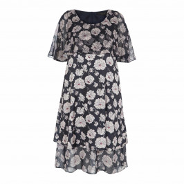 MARINA RINALDI GEORGETTE AND SATIN PEONY PRINT DRESS - Plus Size Collection