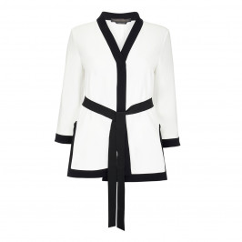 MARINA RINALDI WHITE JACKET WITH BLACK TIPPING - Plus Size Collection