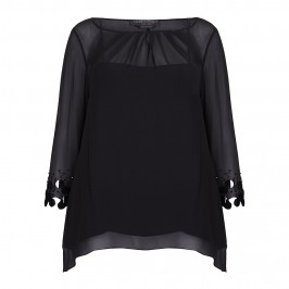 MARINA RINALDI black silk chiffon KAFTAN - Plus Size Collection