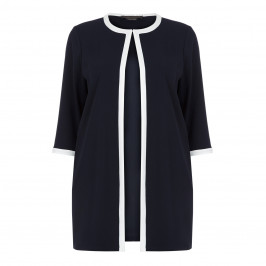 MARINA RINALDI NAVY LONGLINE JACKET WITH WHITE TIPPING - Plus Size Collection