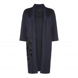 MARINA RINALDI JACQUARD SATIN LONGLINE JACKET EMBELLISHED - Plus Size Collection