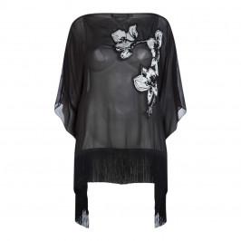 MARINA RINALDI BLACK SILK EMBROIDERED CAPE - Plus Size Collection