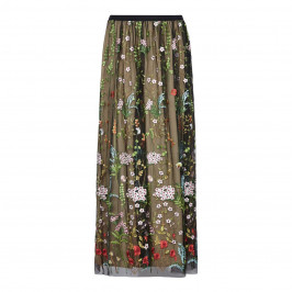 MARINA RINALDI BLACK FLORAL EMBROIDERED TULLE MAXI SKIRT - Plus Size Collection