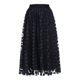 MARINA RINALDI NAVY TULLE POLKA DOT EMBROIDERED SKIRT  - Plus Size Collection
