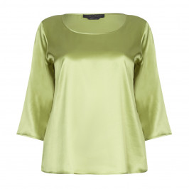 MARINA RINALDI GREEN SILK SATIN SCOOP NECK TOP  - Plus Size Collection