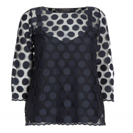 MARINA RINALDI NAVY EMBROIDERED TULLE POLKA DOT TOP - Plus Size Collection