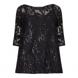 Marina Rinaldi black sequinned lace Tunic - Plus Size Collection