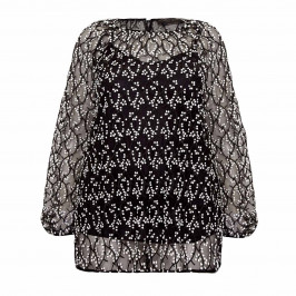 MARINA RINALDI BLACK AND WHITE LACE TOP - Plus Size Collection