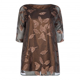 MARINA RINALDI VOILE TUNIC WITH BRONZE LAME LEAF - Plus Size Collection