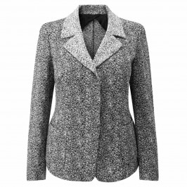 MARINA RINALDI BLACK & WHITE JACQUARD JACKET - Plus Size Collection