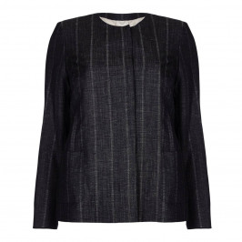 Marina Rinaldi indigo linen and wool blend JACKET - Plus Size Collection