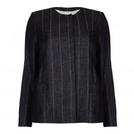 Marina Rinaldi indigo linen and wool blend JACKET - Plus Size Collection