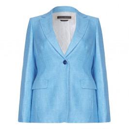 Marina Rinaldi turquoise silk and linen blazer - Plus Size Collection