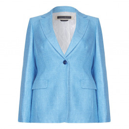 Marina Rinaldi turquoise silk and linen blazer - Plus Size Collection