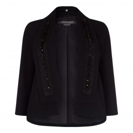 MARINA RINALDI BLACK JACKET WITH REMOVABLE EMBELLISHED COLLAR - Plus Size Collection
