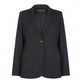 MARINA RINALDI BLACK MELANGE CLASSIC SINGLE BREAST BLAZER - Plus Size Collection