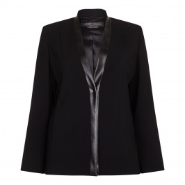 Marina Rinaldi black JACKET with eco leather trim - Plus Size Collection