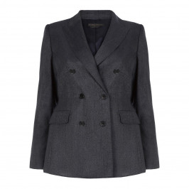 MARINA RINALDI WOOL AND SILK DOUBLE BREASTED BLAZER NAVY - Plus Size Collection
