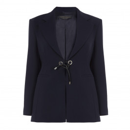 MARINA RINALDI NAVY EYELET FASTEN BLAZER - Plus Size Collection