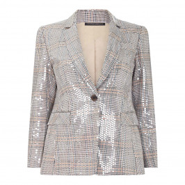 MARINA RINALDI PRINCE OF WALES CHECK SEQUIN BLAZER - Plus Size Collection