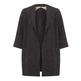 Marina Rinaldi black and white pinstripe Linen JACKET - Plus Size Collection