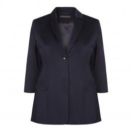 MARINA RINALDI SINGLE-BREASTED NAVY BLAZER - Plus Size Collection