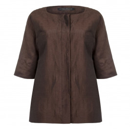 Marina Rinaldi chocolate linen & silk mix JACKET - Plus Size Collection