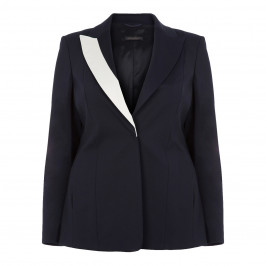 MARINA RINALDI NAVY BLAZER CONTRASTING REVERE - Plus Size Collection