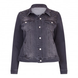 MARINA RINALDI  BLACK PEARL AND JEWEL EMBELLISHED DENIM JACKET - Plus Size Collection