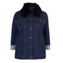 ASHLEY GRAHAM X MARINA RINALDI FUR TRIM DENIM JACKET - Plus Size Collection