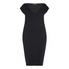 Marina Rinaldi Black Fine Knit Dress with criss-cross neck - Plus Size Collection