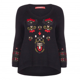 MARINA RINALDI BLACK EMBROIDERED KNITTED TUNIC - Plus Size Collection
