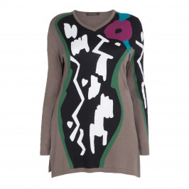 MARINA RINALDI ABSTRACT PRINT LONGLINE INTARSIA SWEATER - Plus Size Collection