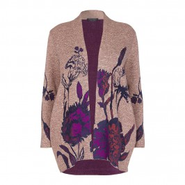 MARINA RINALDI LONG floral intarsia CARDIGAN - Plus Size Collection