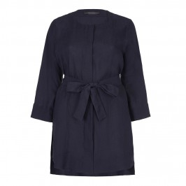 MARINA RINALDI LONG NAVY linen JACKET - Plus Size Collection