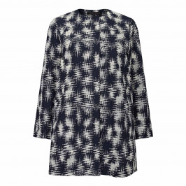 MARINA RINALDI COTTON BLEND JACKET NAVY AND WHITE - Plus Size Collection