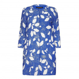 MARINA RINALDI PRINTED LONG JACKET BLUE - Plus Size Collection