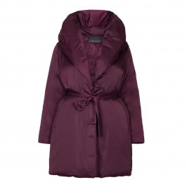 MARINA RINALDI SHAWL COLLAR PUFFA COAT WITH BELT IN PLUM - Plus Size Collection