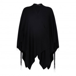 MARINA RINALDI VIRGIN WOOL BLEND BLACK FRINGED WRAP - Plus Size Collection