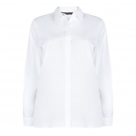 MARINA RINALDI COTTON POPLIN SHIRT WITH DIAMANTE BUTTONS - Plus Size Collection
