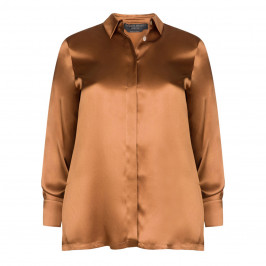 MARINA RINALDI PURE SILK SHIRT CARAMEL - Plus Size Collection