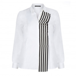 Marina Rinaldi white cotton SHIRT with striped ruffle - Plus Size Collection