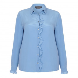 MARINA RINALDI SILK SHIRT WITH FRONT RUFFLE - Plus Size Collection