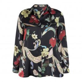 MARINA RINALDI SATIN PRINT SHIRT BLACK - Plus Size Collection